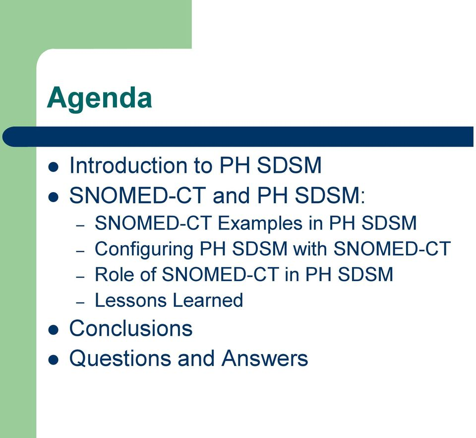 PH SDSM with SNOMED-CT Role of SNOMED-CT in PH