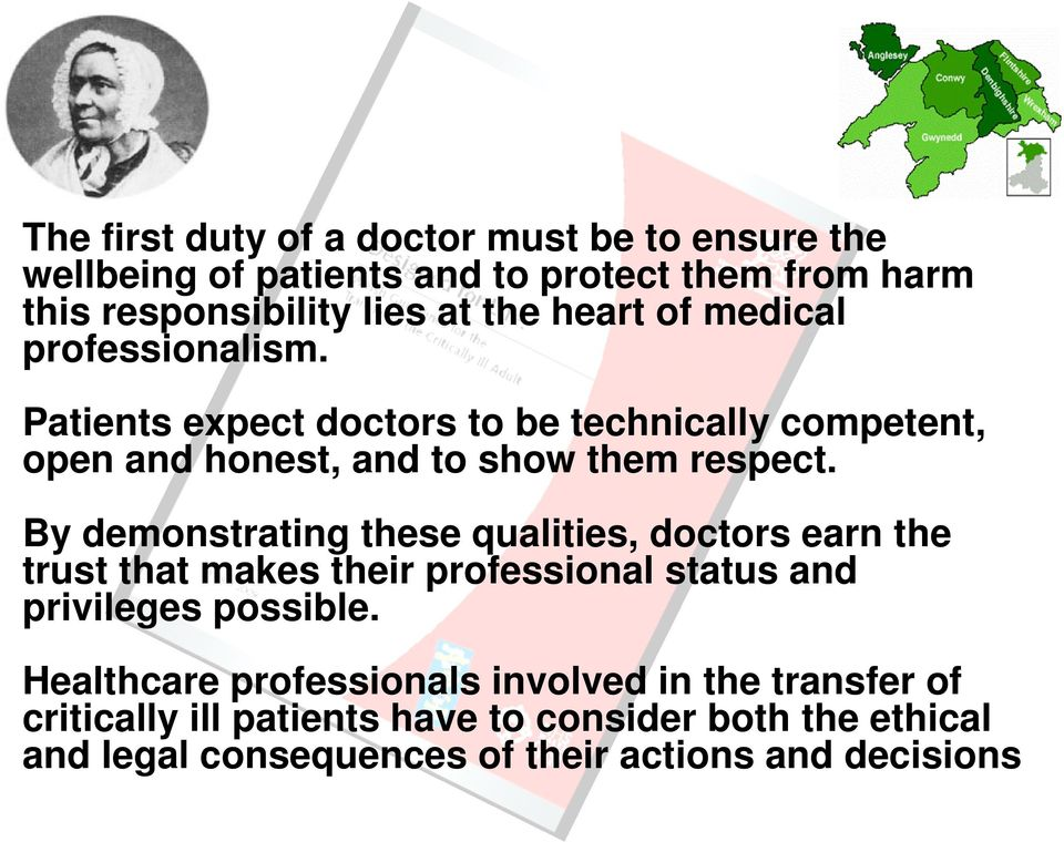 By demonstrating these qualities, doctors earn the trust that makes their professional status and privileges possible.