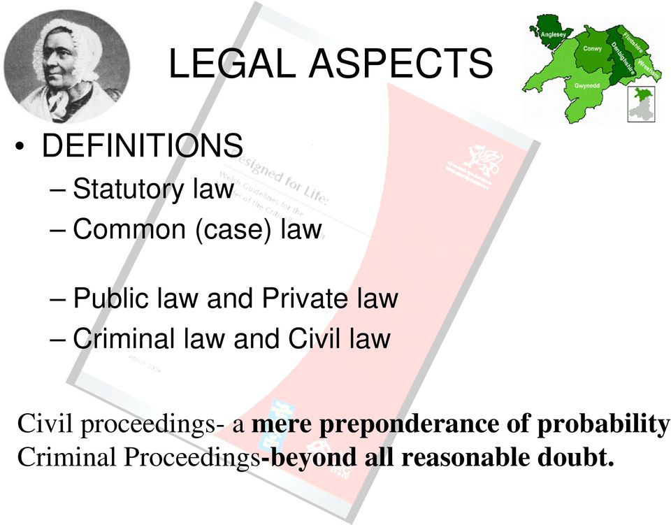 law Civil proceedings- a mere preponderance of