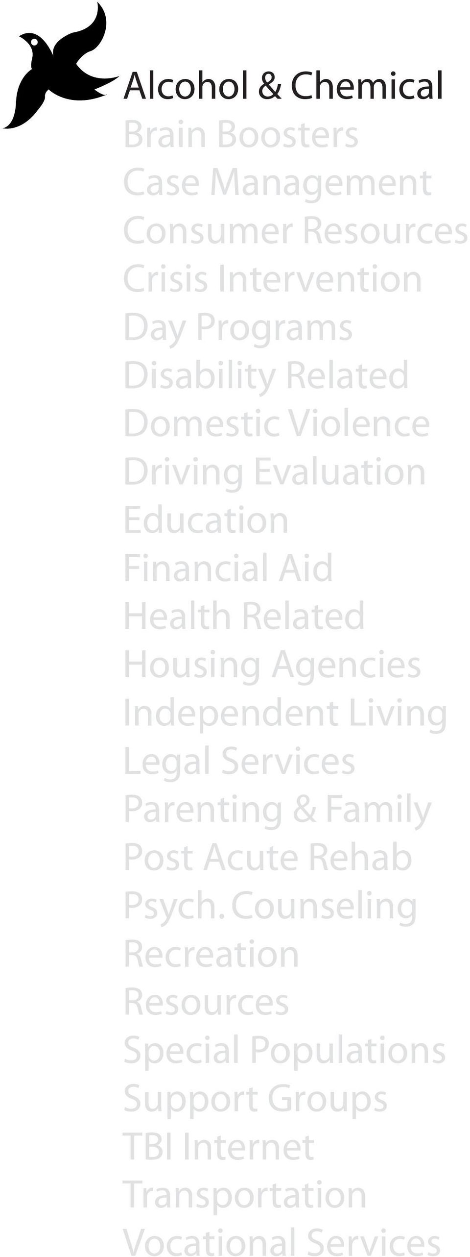 Housing Agencies Independent Living Legal Services Parenting & Family Post Acute Rehab Psych.
