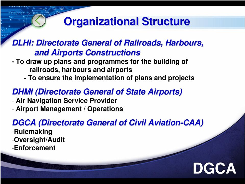 implementation of plans and projects DHMI (Directorate( General of State Airports) - Air Navigation Service
