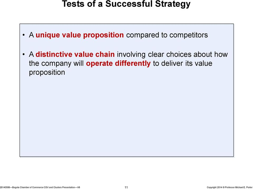 value chain involving clear choices about how the