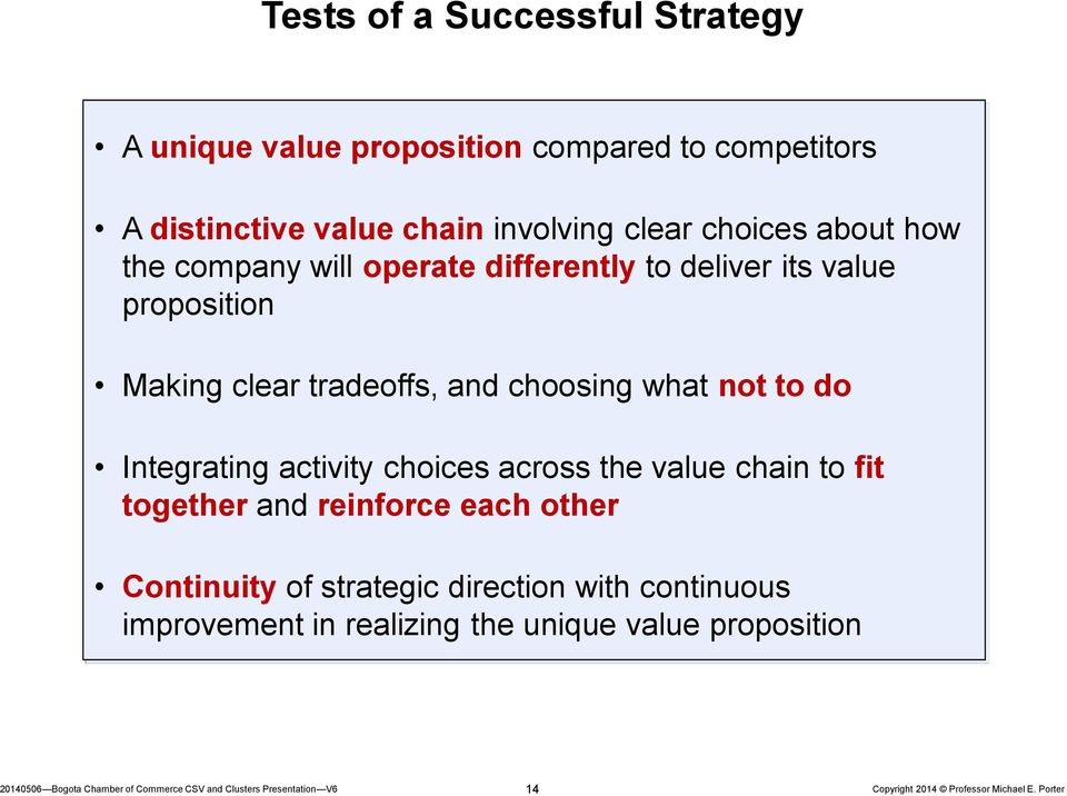 clear tradeoffs, and choosing what not to do Integrating activity choices across the value chain to fit together