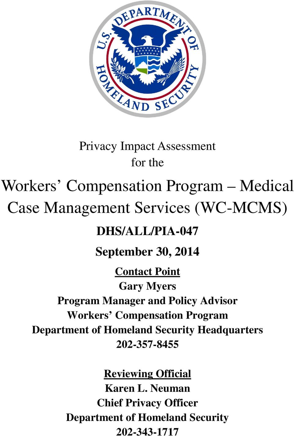 Advisor Workers Compensation Program Department of Homeland Security Headquarters
