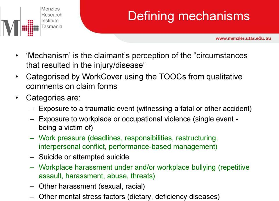 being a victim of) Work pressure (deadlines, responsibilities, restructuring, interpersonal conflict, performance-based management) Suicide or attempted suicide Workplace