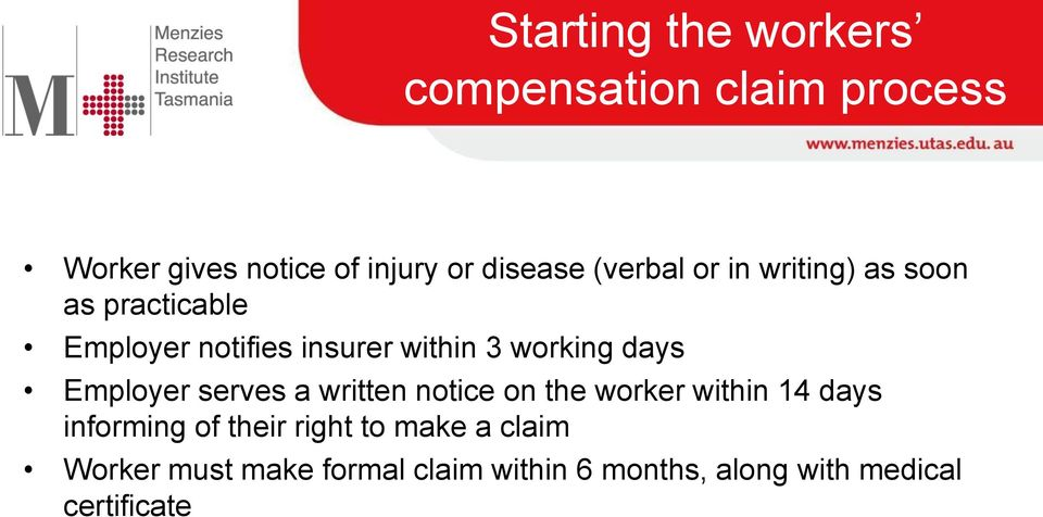 days Employer serves a written notice on the worker within 14 days informing of their