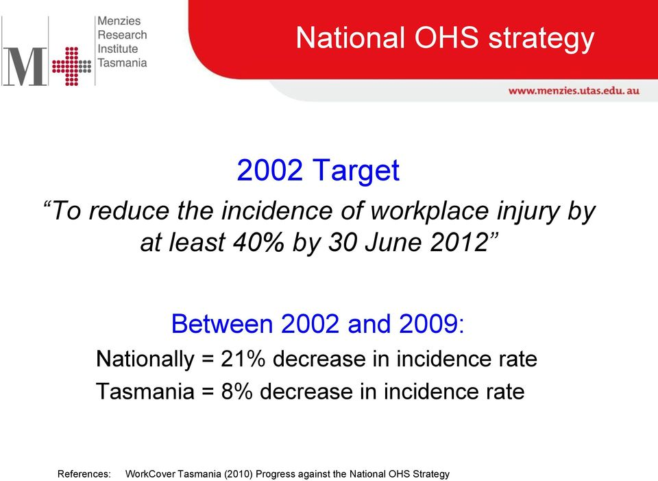 21% decrease in incidence rate Tasmania = 8% decrease in incidence rate