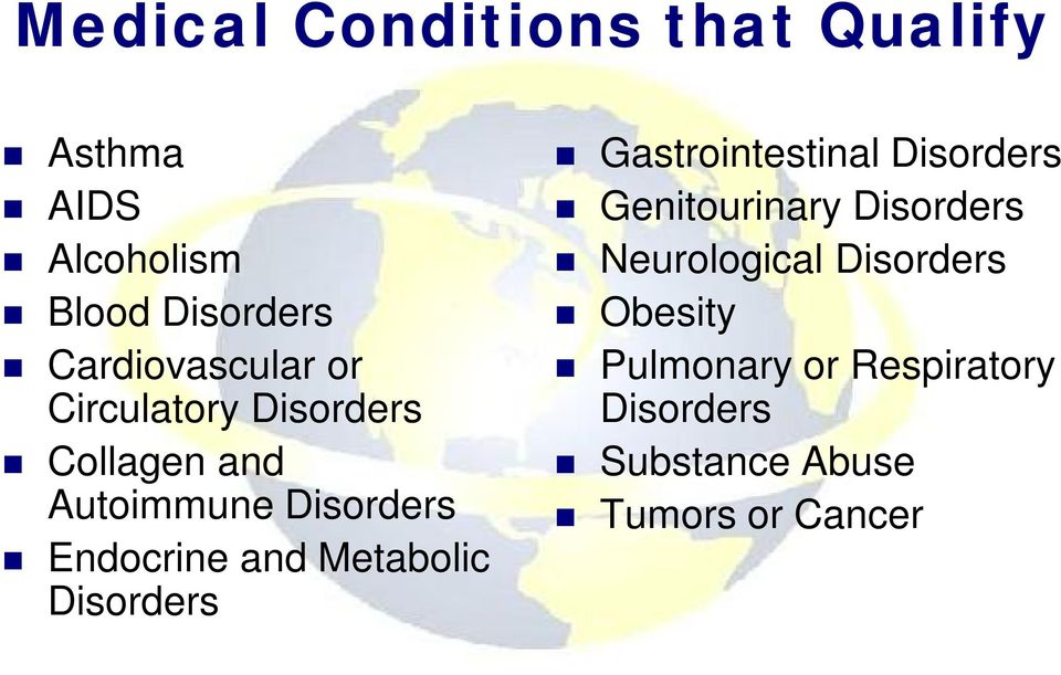 Endocrine and Metabolic Disorders Gastrointestinal Disorders Genitourinary