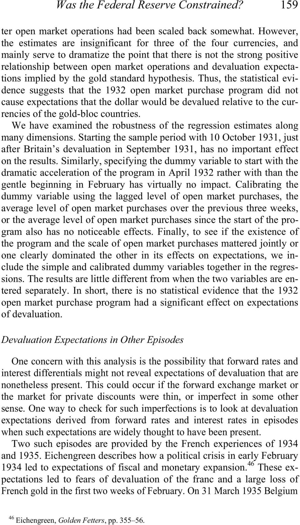 and devaluation expectations implied by the gold standard hypothesis.