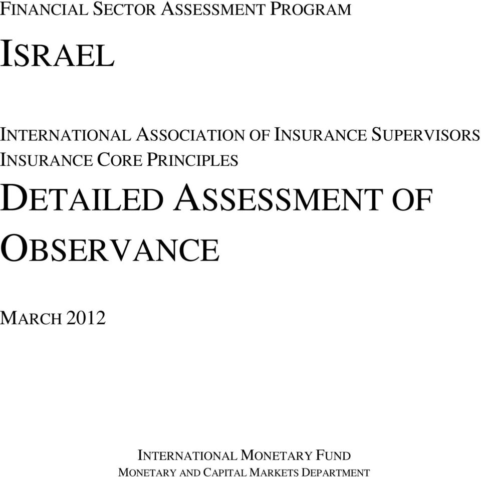 PRINCIPLES DETAILED ASSESSMENT OF OBSERVANCE MARCH 2012