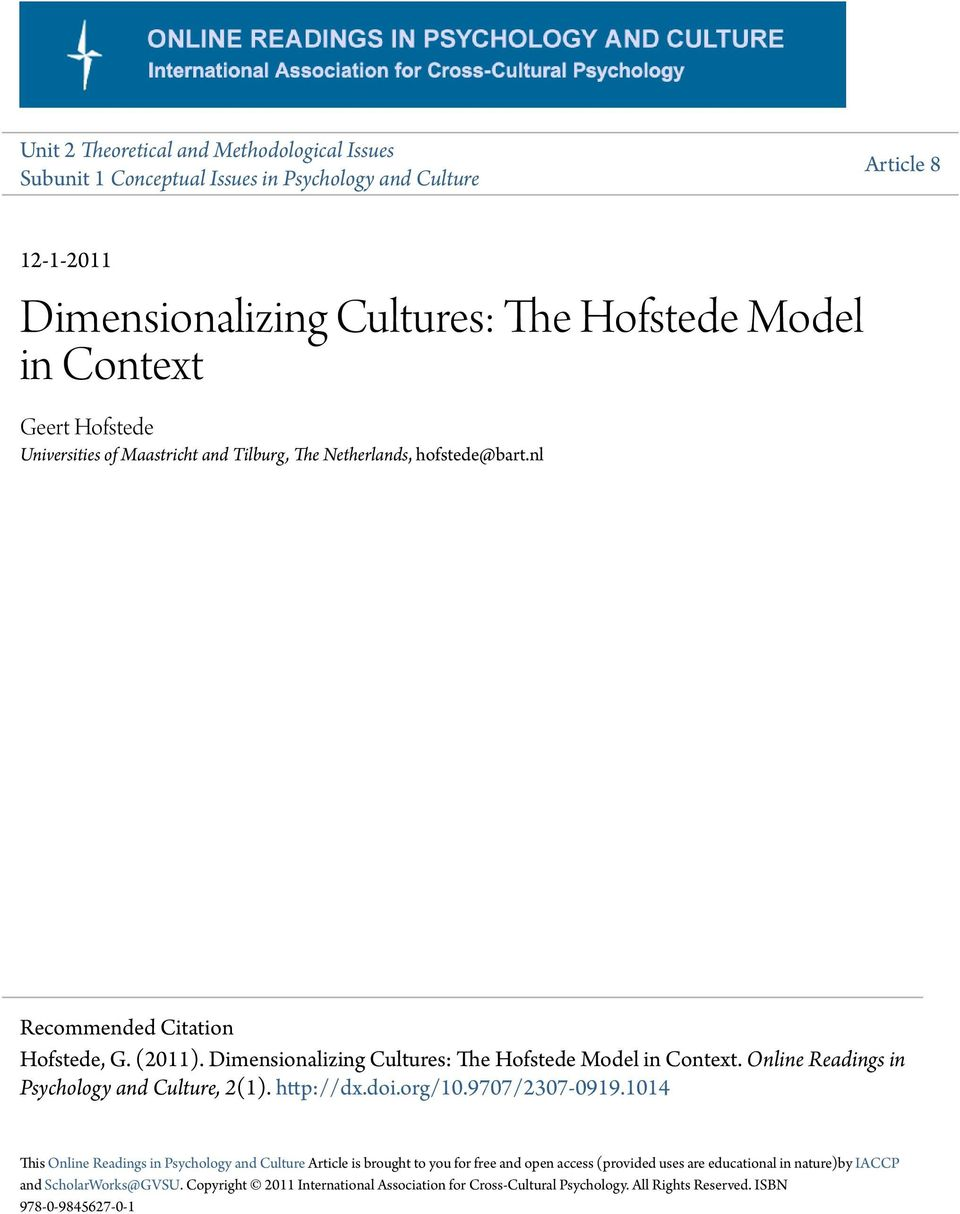 Online Readings in Psychology and Culture, 2(1). http://dx.doi.org/10.9707/2307-0919.