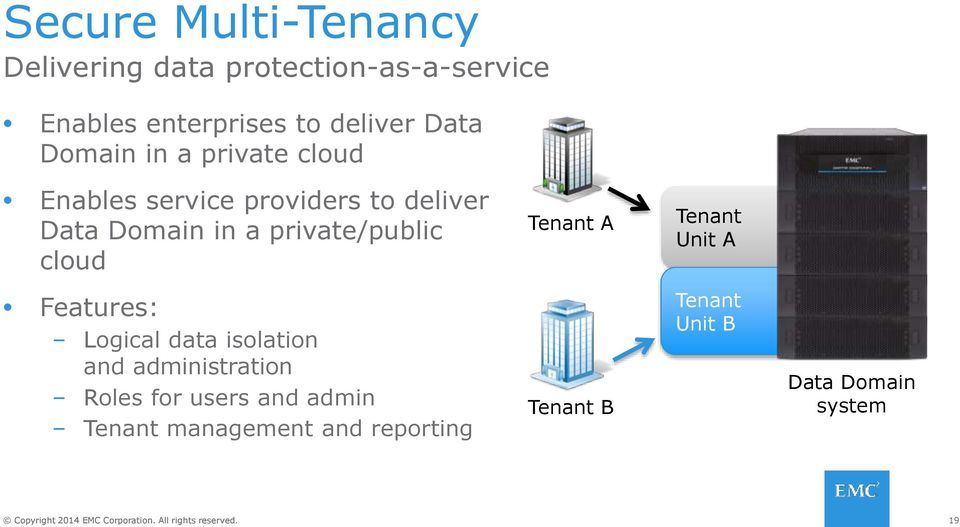 private/public cloud Tenant A Tenant Unit A Features: Logical data isolation and