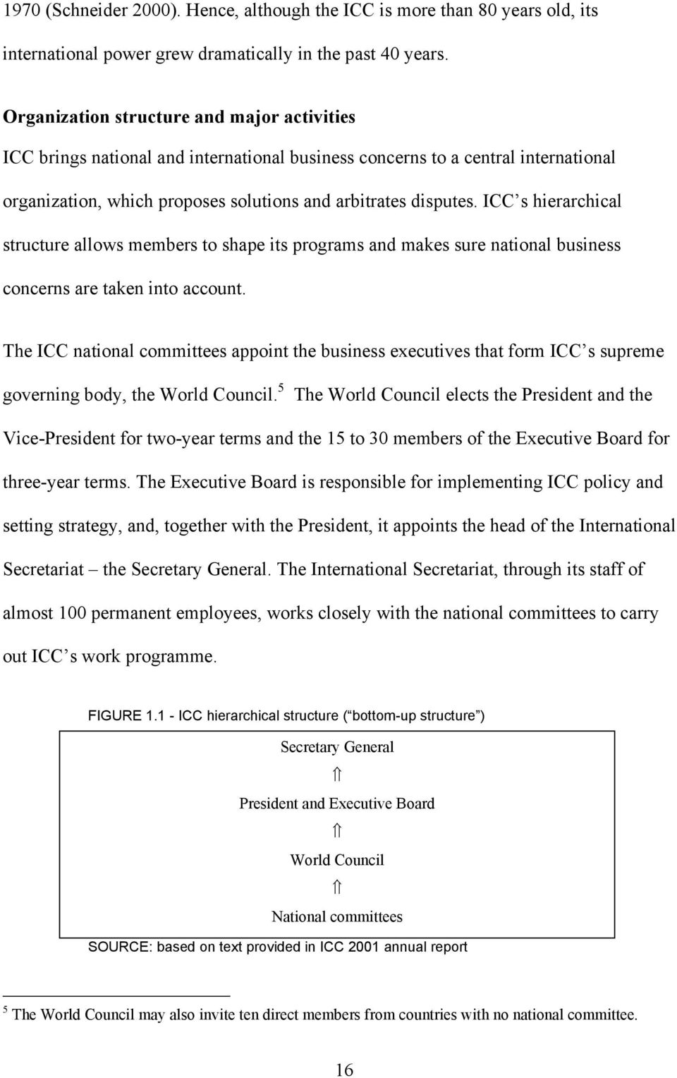 ICC s hierarchical structure allows members to shape its programs and makes sure national business concerns are taken into account.
