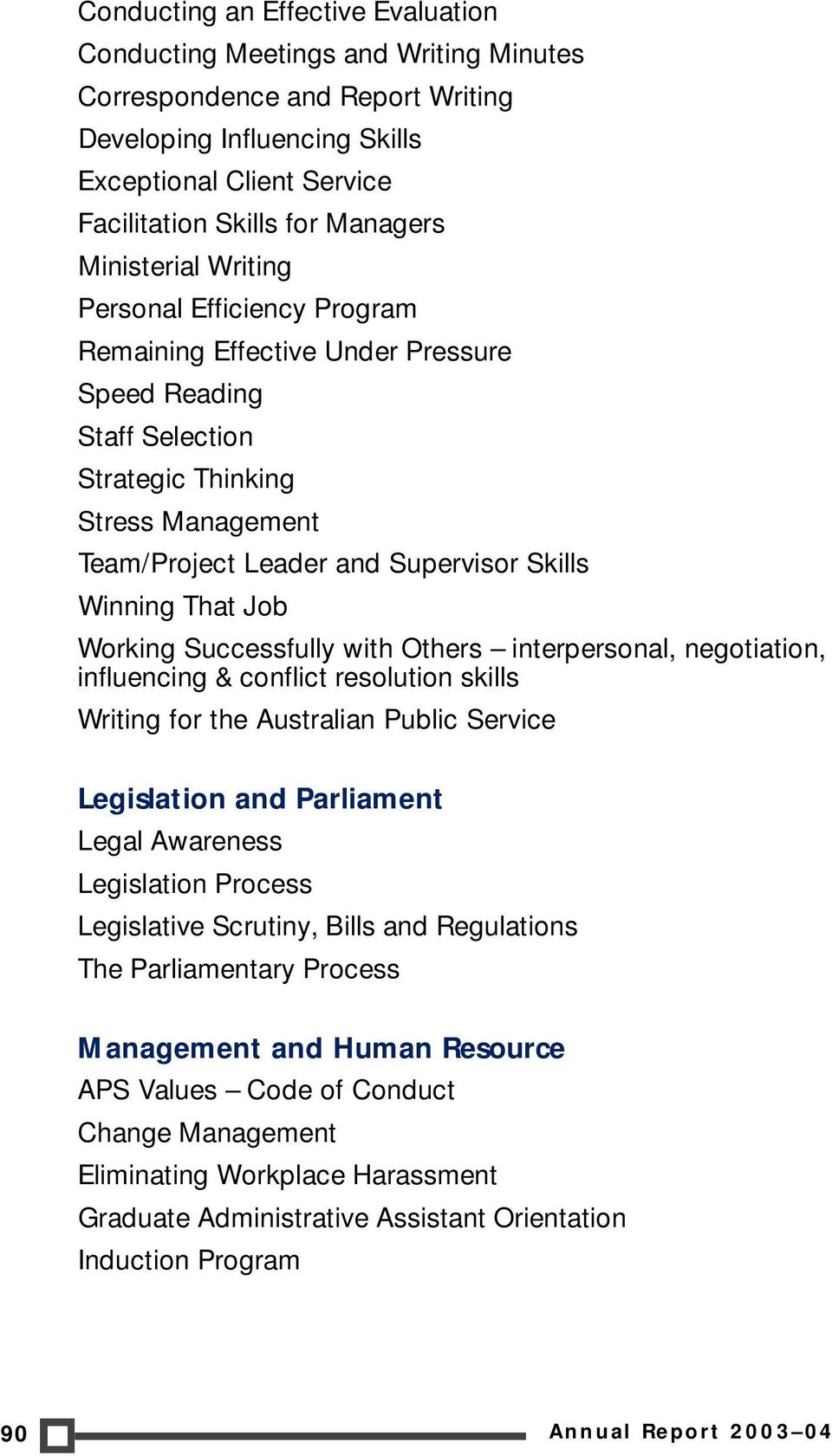That Job Working Successfully with Others interpersonal, negotiation, influencing & conflict resolution skills Writing for the Australian Public Service Legislation and Parliament Legal Awareness