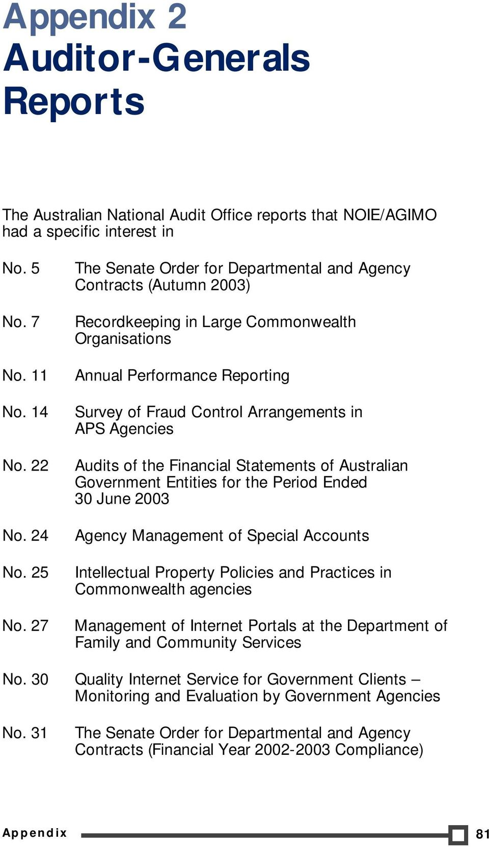 of the Financial Statements of Australian Government Entities for the Period Ended 30 June 2003 Agency Management of Special Accounts Intellectual Property Policies and Practices in Commonwealth