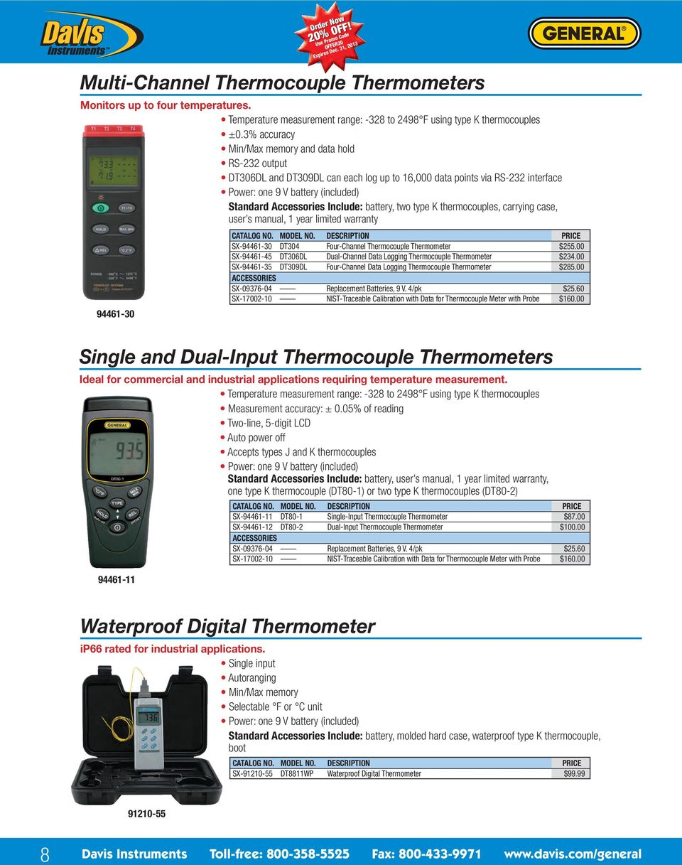 battery, two type K thermocouples, carrying case, user s manual, 1 year limited warranty 94461-30 SX-94461-30 DT304 Four-Channel Thermocouple Thermometer $255.
