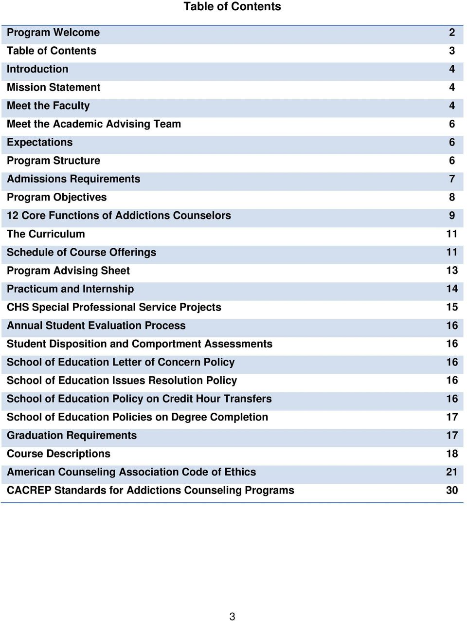 Professional Service Projects 15 Annual Student Evaluation Process 16 Student Disposition and Comportment Assessments 16 School of Education Letter of Concern Policy 16 School of Education Issues