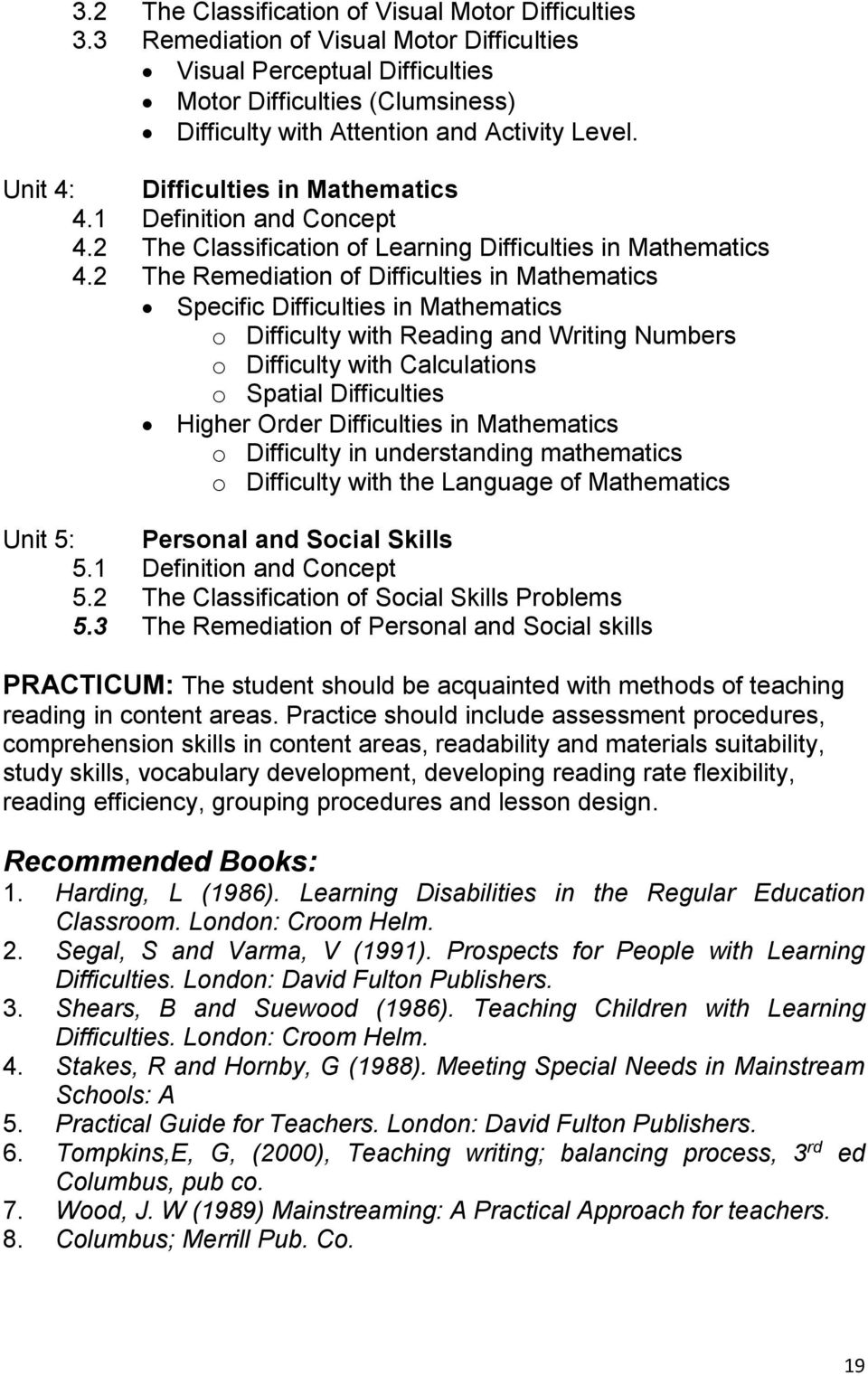1 Definition and Concept 4.2 The Classification of Learning Difficulties in Mathematics 4.
