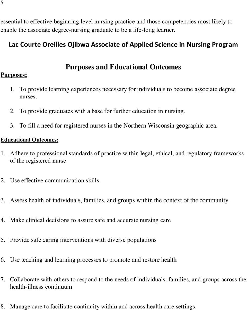 To provide learning experiences necessary for individuals to become associate degree nurses. 2. To provide graduates with a base for further education in nursing. 3.