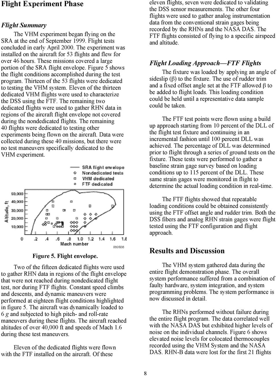 Figure 5 shows the flight conditions accomplished during the test program. Thirteen of the 53 flights were dedicated to testing the VHM system.