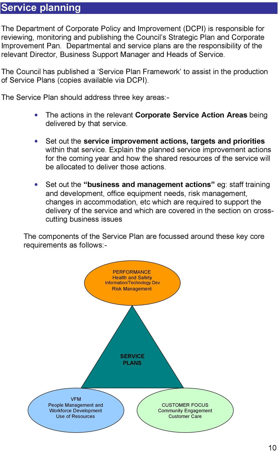 The Council has published a Service Plan Framework to assist in the production of Service Plans (copies available via DCPI).