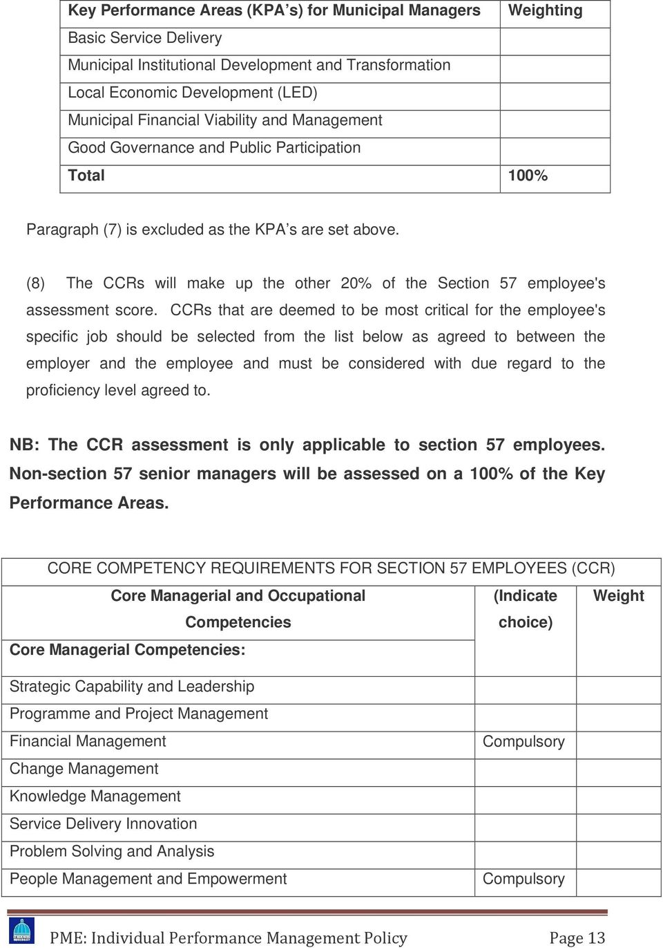(8) The CCRs will make up the other 20% of the Section 57 employee's assessment score.