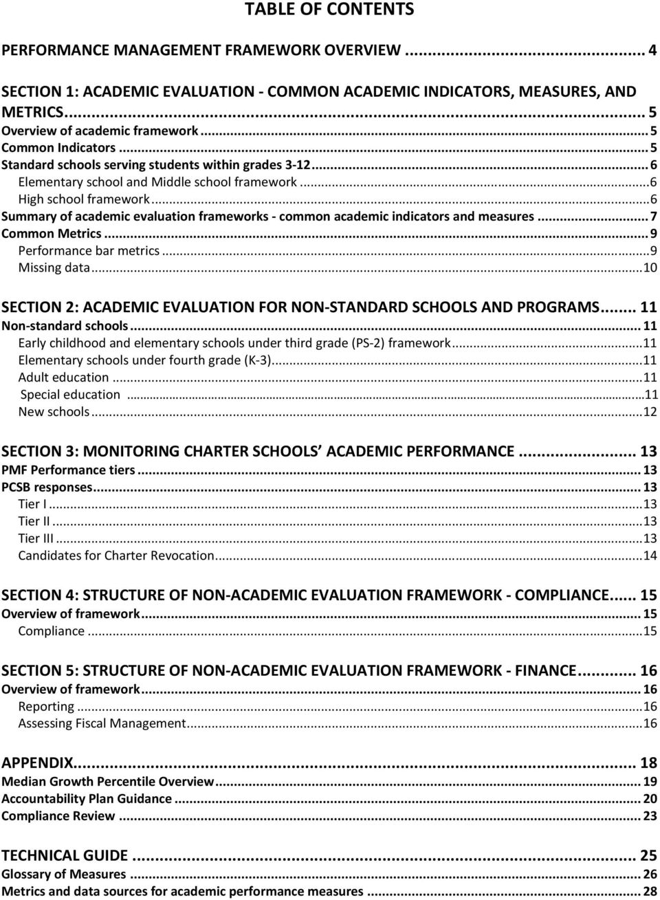 .. 6 Summary of academic evaluation frameworks - common academic indicators and measures... 7 Common Metrics... 9 Performance bar metrics... 9 Missing data.