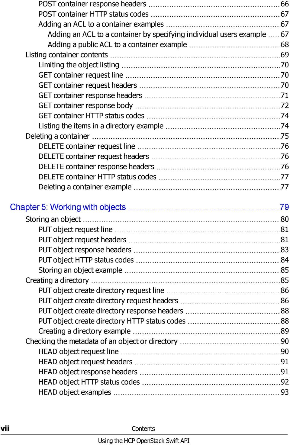 container response body 72 GET container HTTP status codes 74 Listing the items in a directory example 74 Deleting a container 75 DELETE container request line 76 DELETE container request headers 76