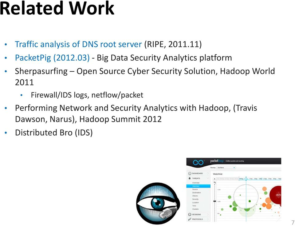 Solution, Hadoop World 2011 Firewall/IDS logs, netflow/packet Performing Network and