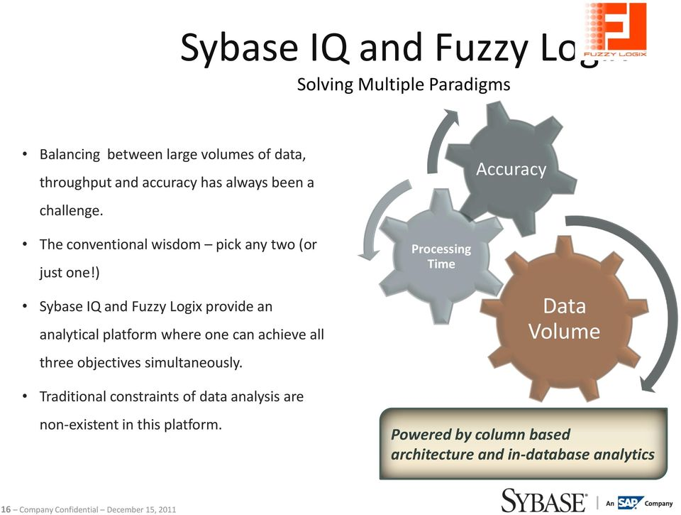 ) Sybase IQ and Fuzzy Logix provide an analytical platform where one can achieve all three objectives simultaneously.