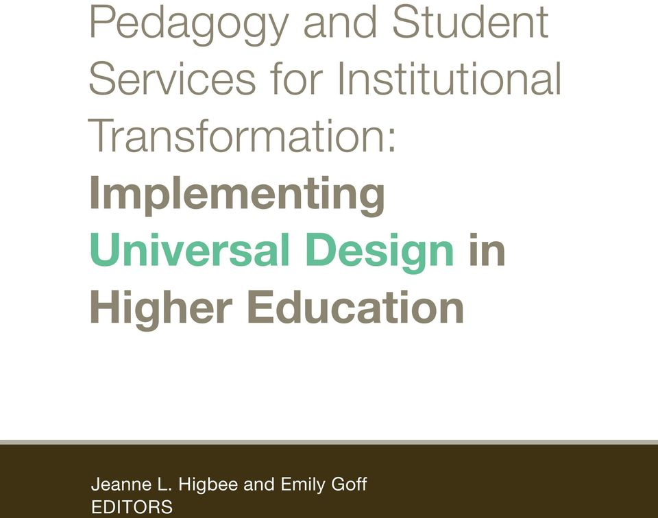 Implementing Universal Design in