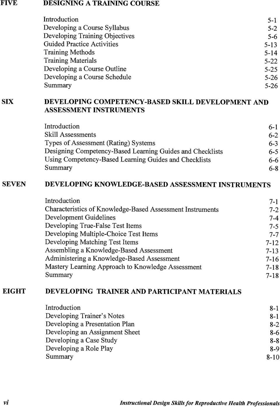 ofassessment (Rating) Systems Designing Competency-Based Learning Guides and Checklists Using Competency-Based Learning Guides and Checklists Summary 6-1 6-2 6-3 6-5 6-6 6-8 SEVEN DEVELOPING