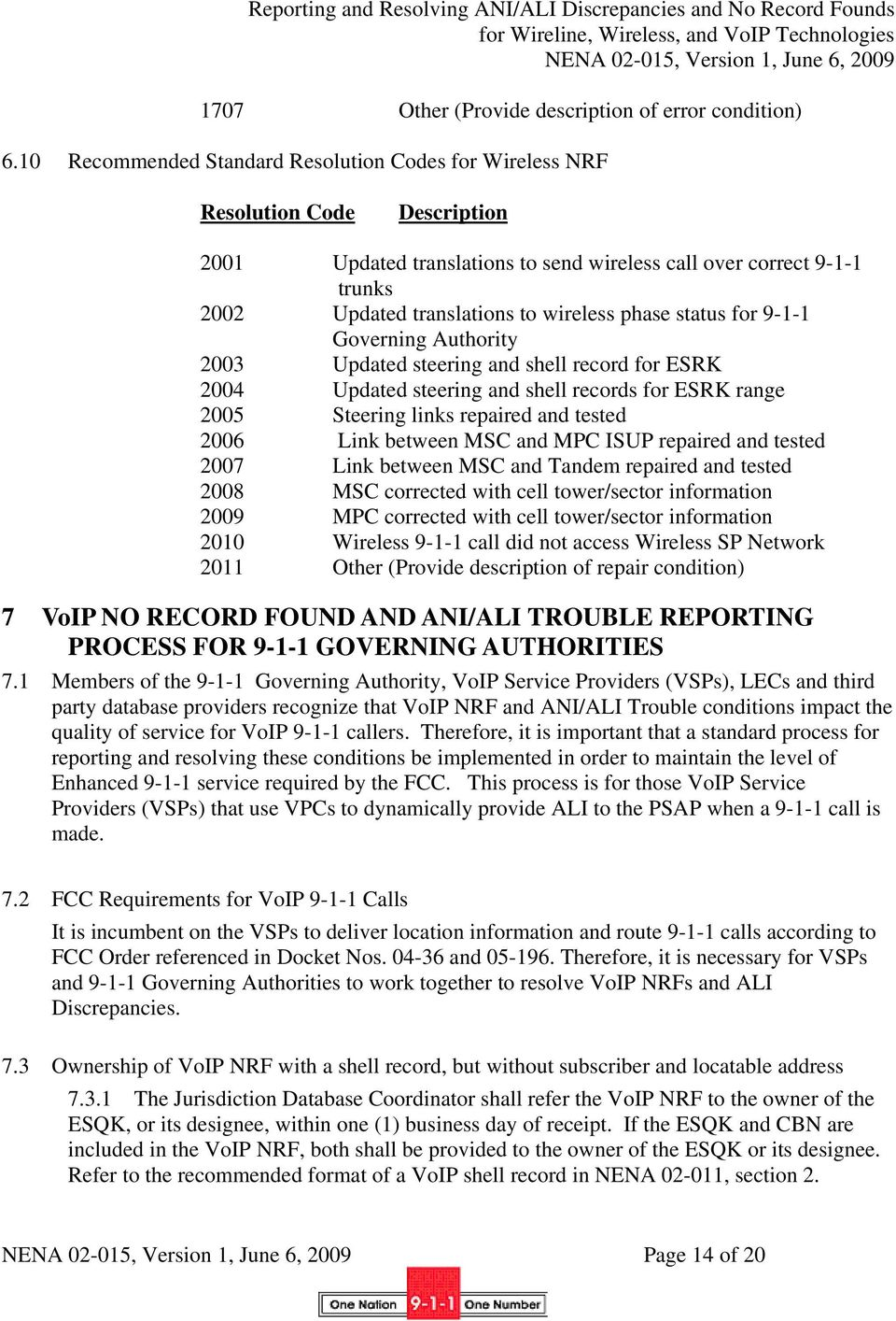 phase status for 9-1-1 Governing Authority 2003 Updated steering and shell record for ESRK 2004 Updated steering and shell records for ESRK range 2005 Steering links repaired and tested 2006 Link