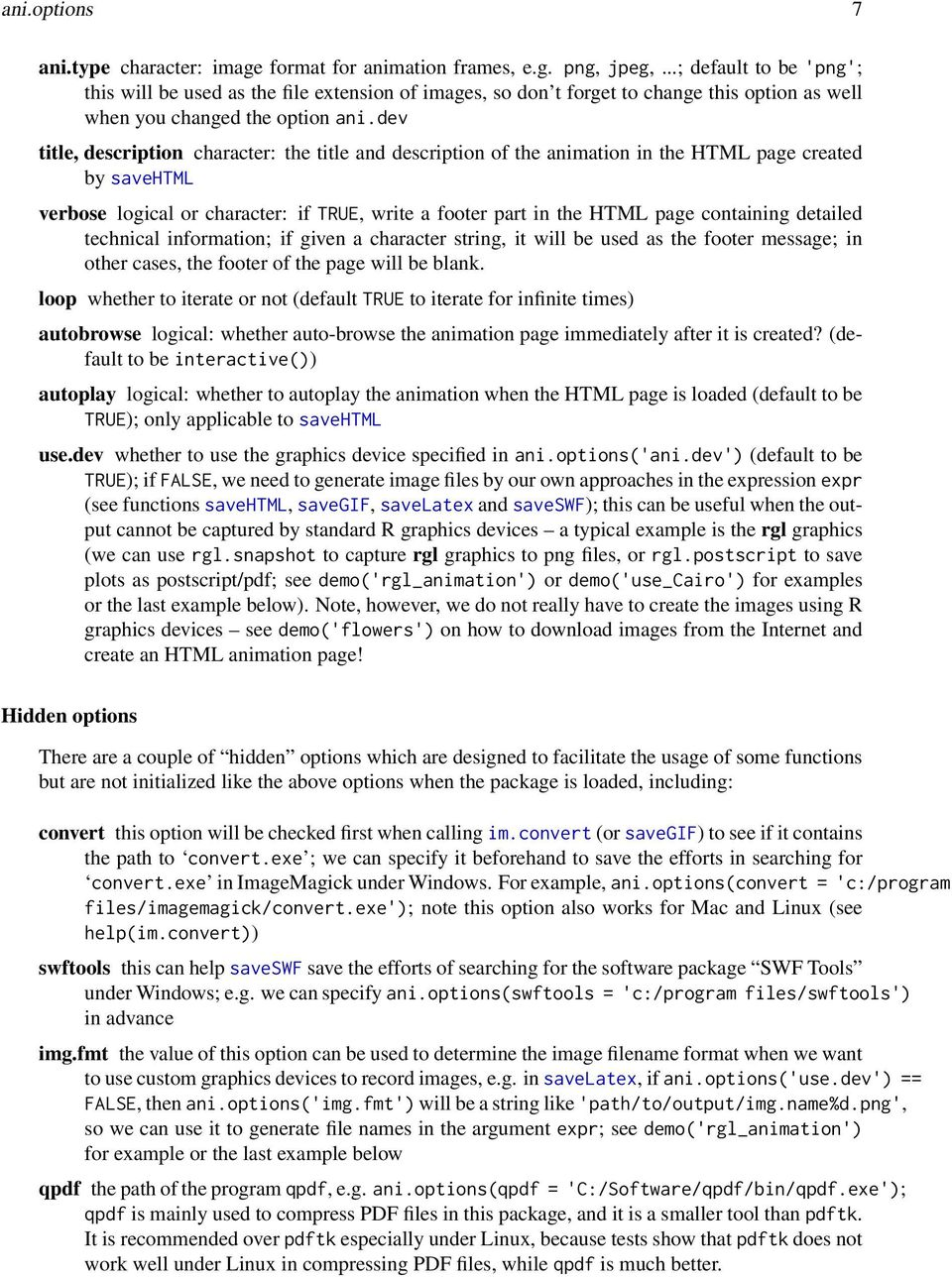 dev title, description character: the title and description of the animation in the HTML page created by savehtml verbose logical or character: if TRUE, write a footer part in the HTML page