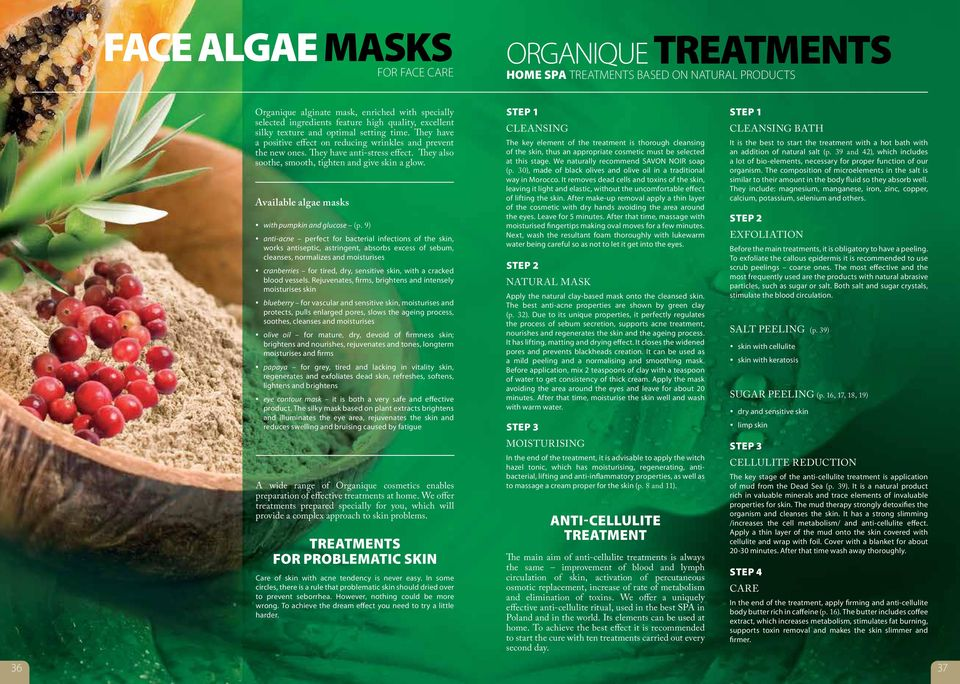 Available algae masks with pumpkin and glucose (p.
