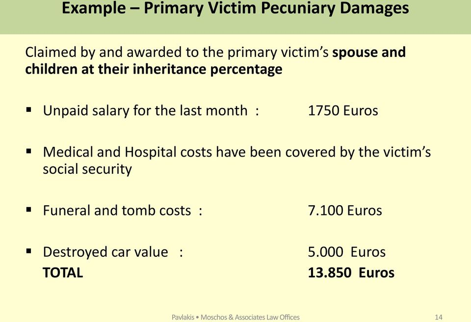 Hospital costs have been covered by the victim s social security Funeral and tomb costs : Destroyed