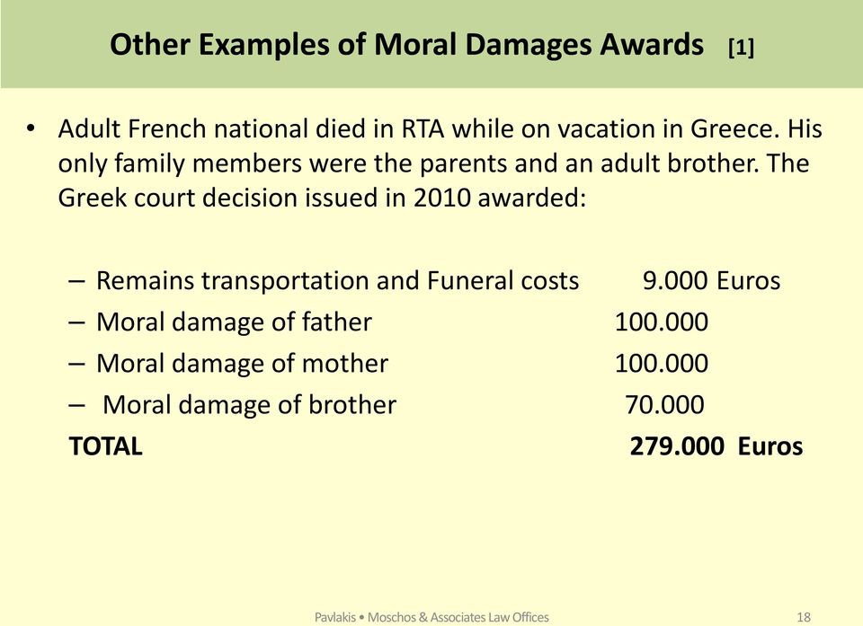 The Greek court decision issued in 2010 awarded: Remains transportation and Funeral costs 9.