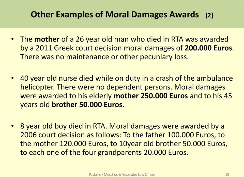 Moral damages were awarded to his elderly mother 250.000 Euros and to his 45 years old brother 50.000 Euros. 8 year old boy died in RTA.