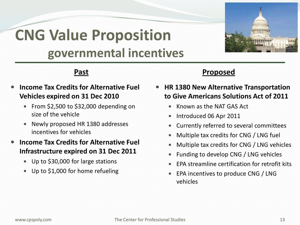 HR 1380 New Alternative Transportation to Give Americans Solutions Act of 2011 Known as the NAT GAS Act Introduced 06 Apr 2011 Currently referred to several committees Multiple tax