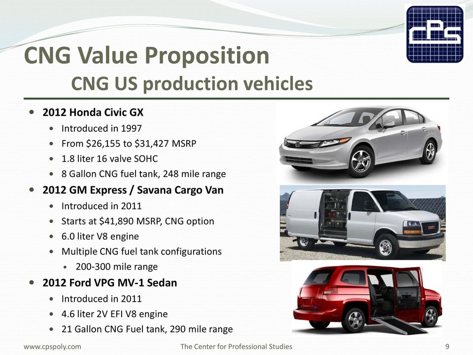 in 2011 Starts at $41,890 MSRP, CNG option 6.