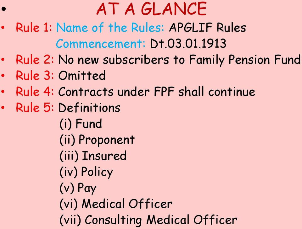 Contracts under FPF shall continue Rule 5: Definitions (i) Fund (ii) Proponent