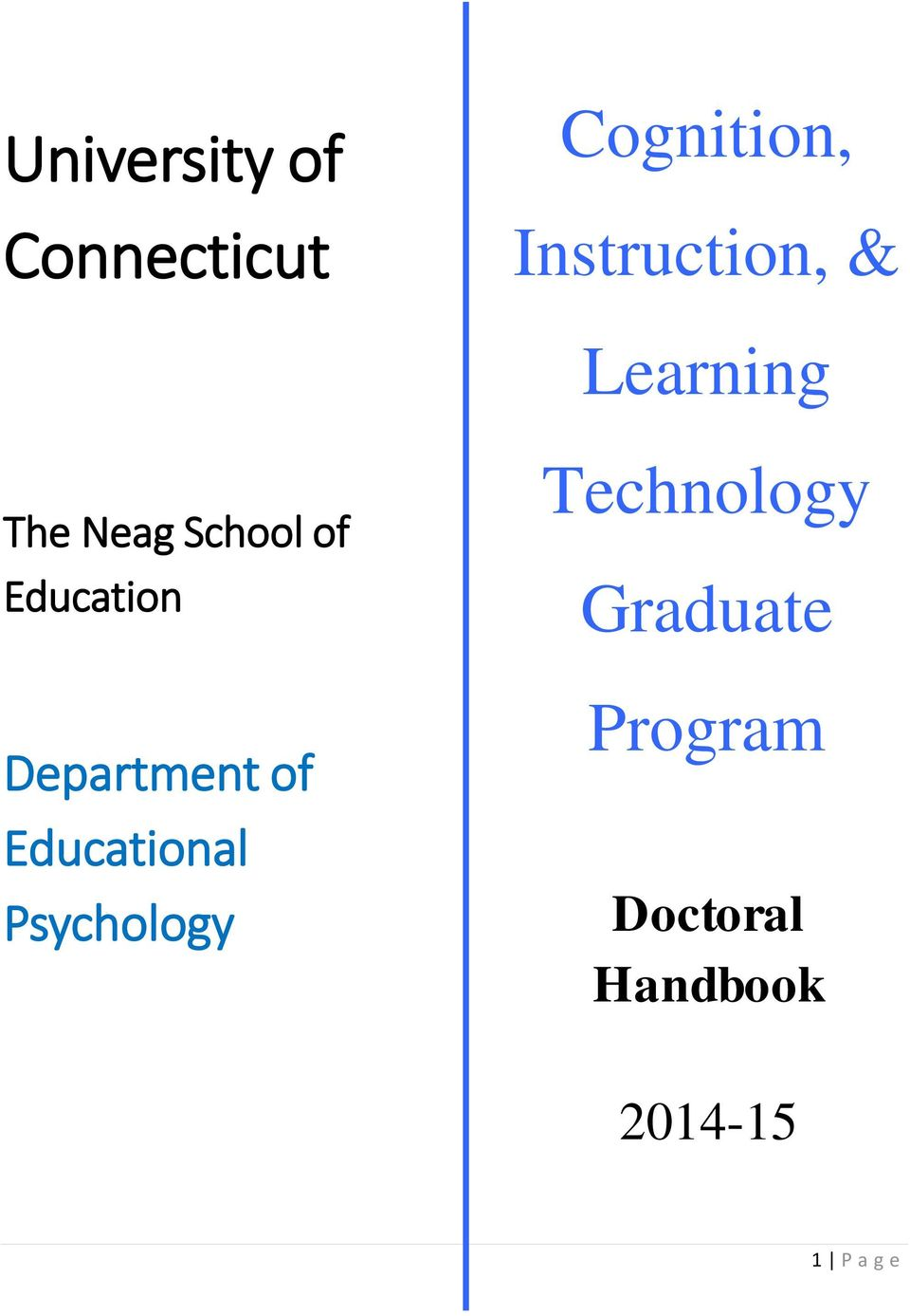 Education Department of Educational Psychology