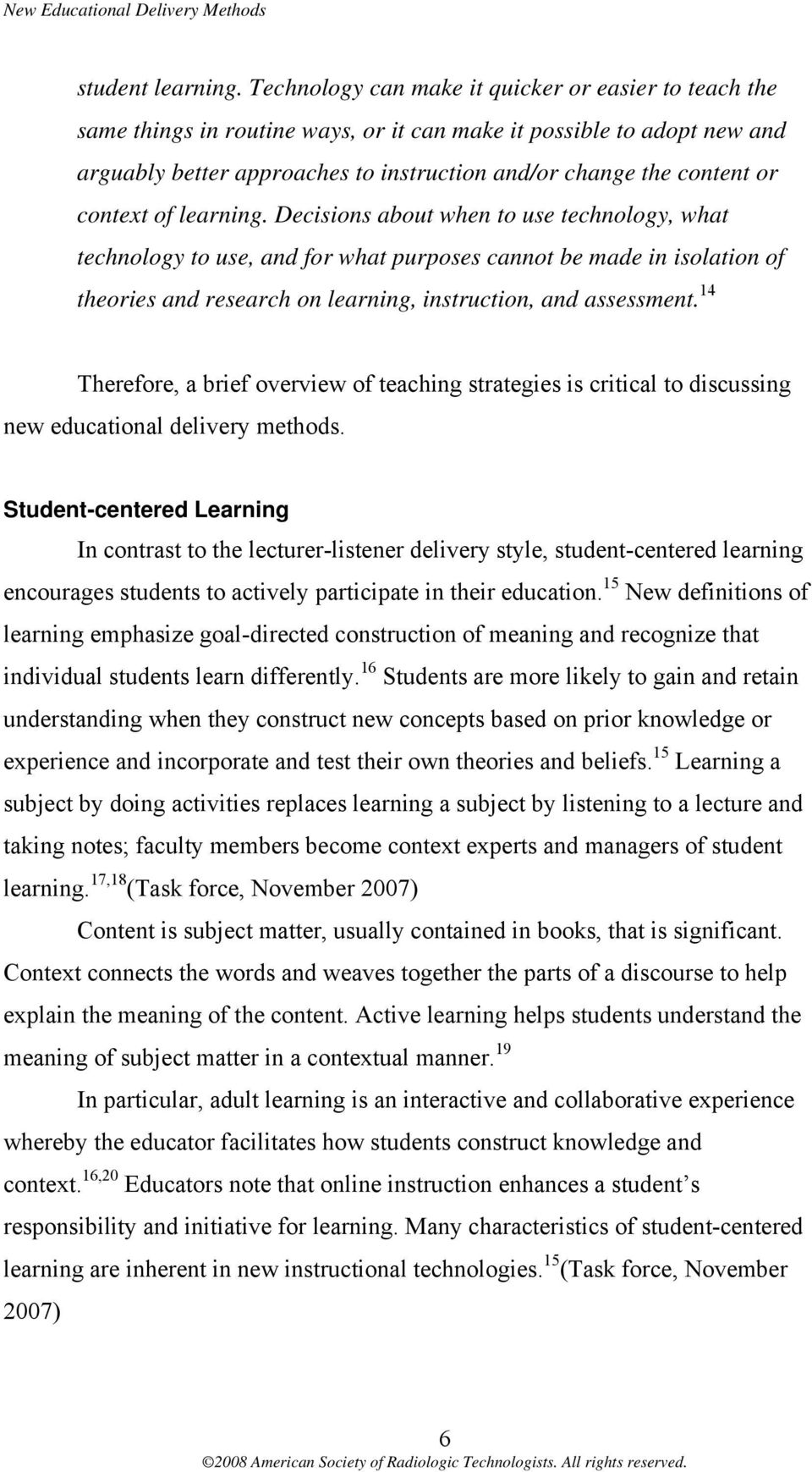 context of learning.