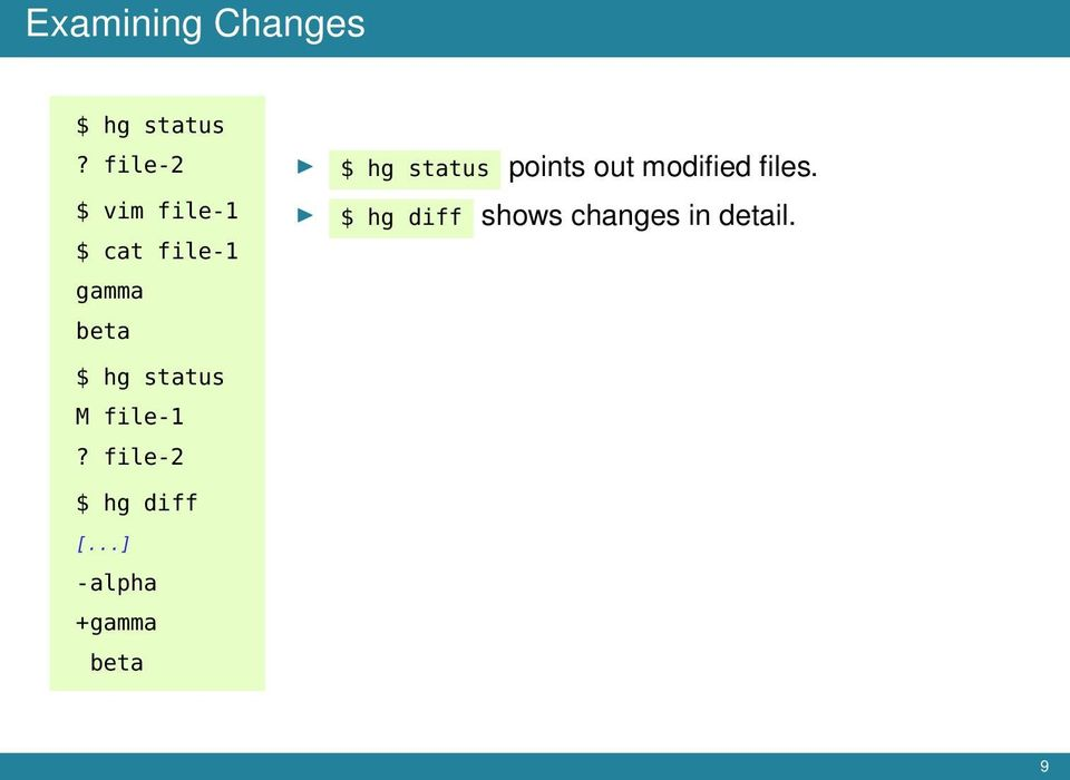 status points out modified files.