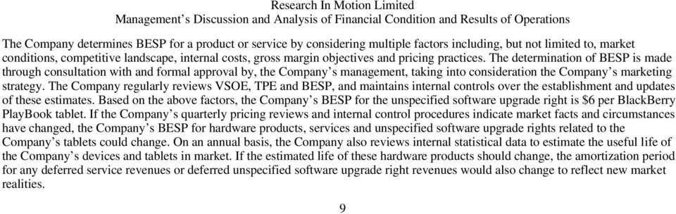 The determination of BESP is made through consultation with and formal approval by, the Company s management, taking into consideration the Company s marketing strategy.