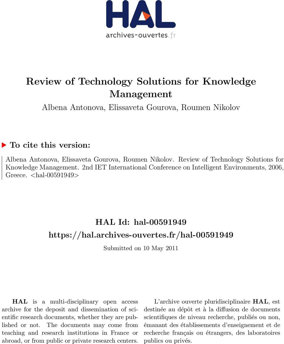 fr/hal-00591949 Submitted on 10 May 2011 HAL is a multi-disciplinary open access archive for the deposit and dissemination of scientific research documents, whether they are published or not.