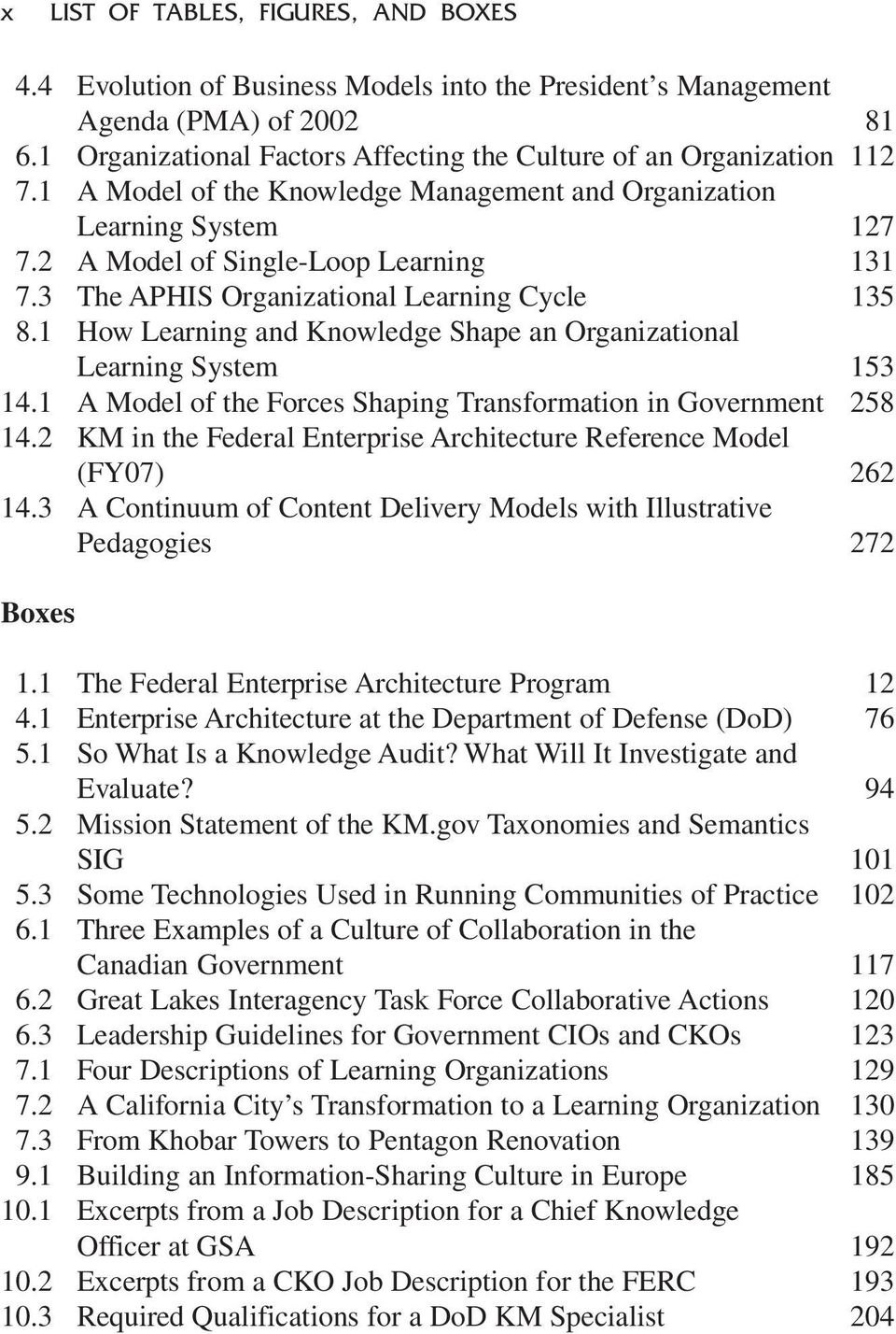 1 How Learning and Knowledge Shape an Organizational Learning System 153 14.1 A Model of the Forces Shaping Transformation in Government 258 14.