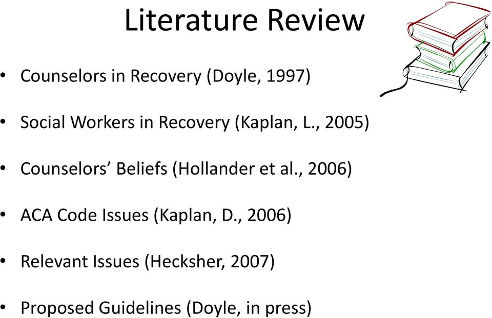 , 2005) Counselors Beliefs (Hollander et al.