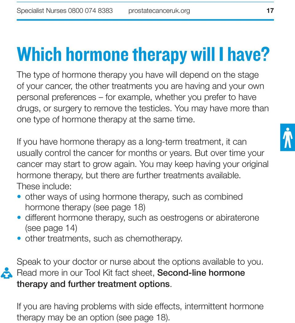 surgery to remove the testicles. You may have more than one type of hormone therapy at the same time.