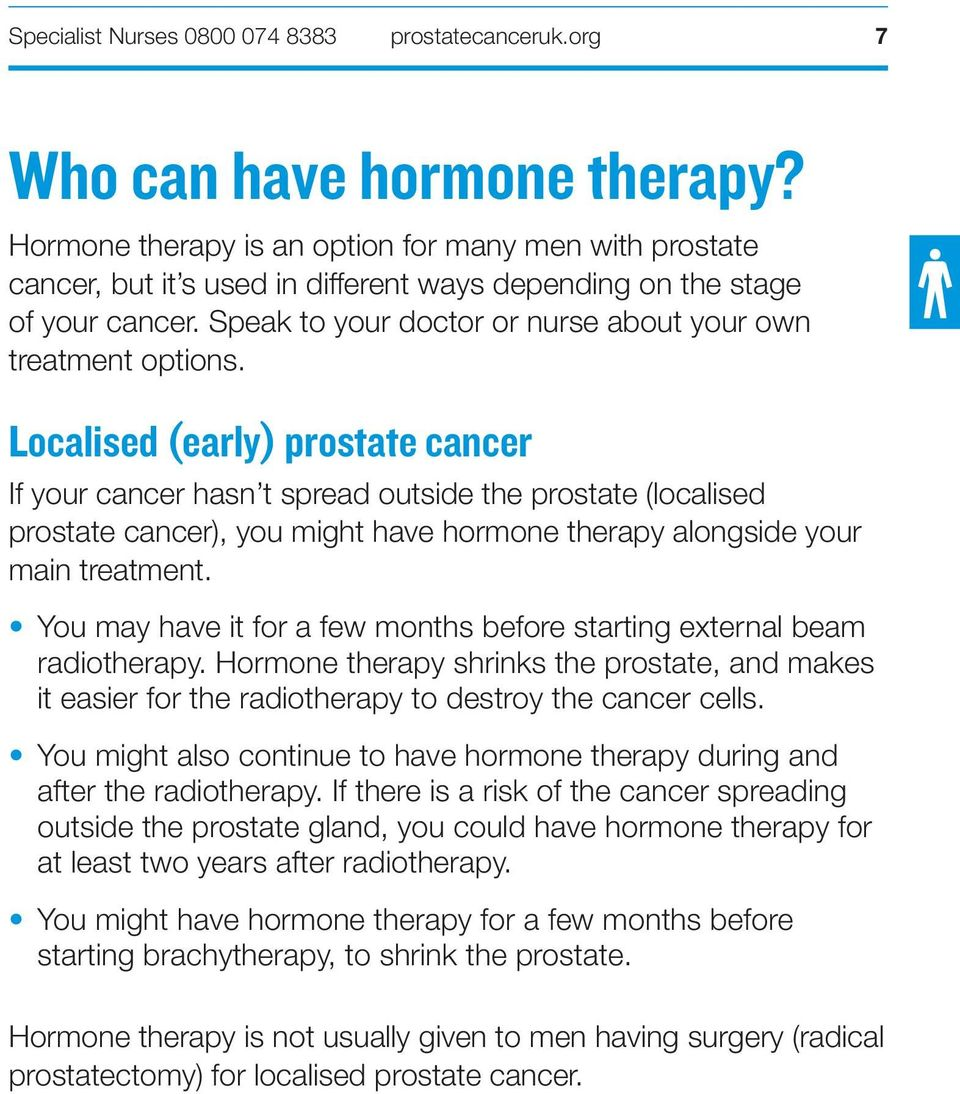 Localised (early) prostate cancer If your cancer hasn t spread outside the prostate (localised prostate cancer), you might have hormone therapy alongside your main treatment.